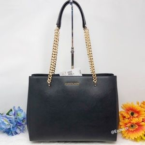 NWT Michael Kors Ellis Large Leather Tote Black
